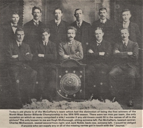 MacCafferty Team of the North West Senior Billiards 1914-15