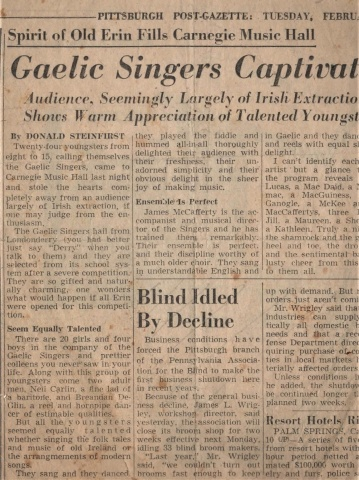 Gaelic Singers Newspaper Coverage