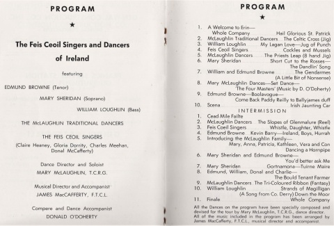 Feis Ceoil Singers 1966 Program