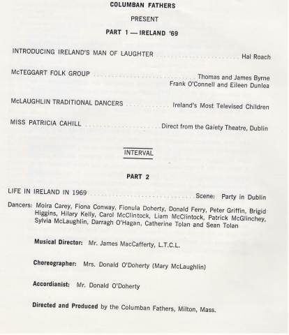 Feis Ceoil Singers 1969 Program