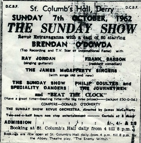 Performers on the First Sunday Show 1962