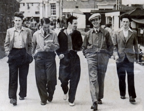 Band members of the  Carlton Swingtette in Portrush, 1948. Included are Willie Lindsey, Tony Black, Barney Coyle, James & Mick McWilliams